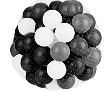Large Ball Pit Balls 7cm - 100 Balls - Black, White & Grey Mix