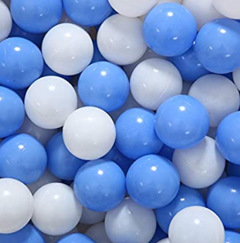 Medium Ball Pit Balls - 50 Balls - 6cm -  Bright Blue & White - Beary Kids
