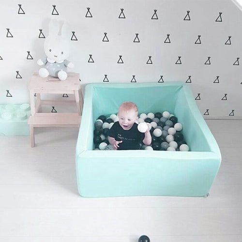 Soft Foam Rectangular Ball Pit Pool - Turquoise - Beary Kids