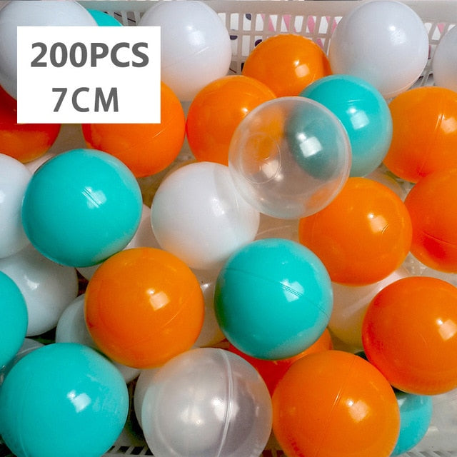 Large Ball Pit Balls 7cm - 200 Balls - Orange & Turquoise Mix - Beary Kids