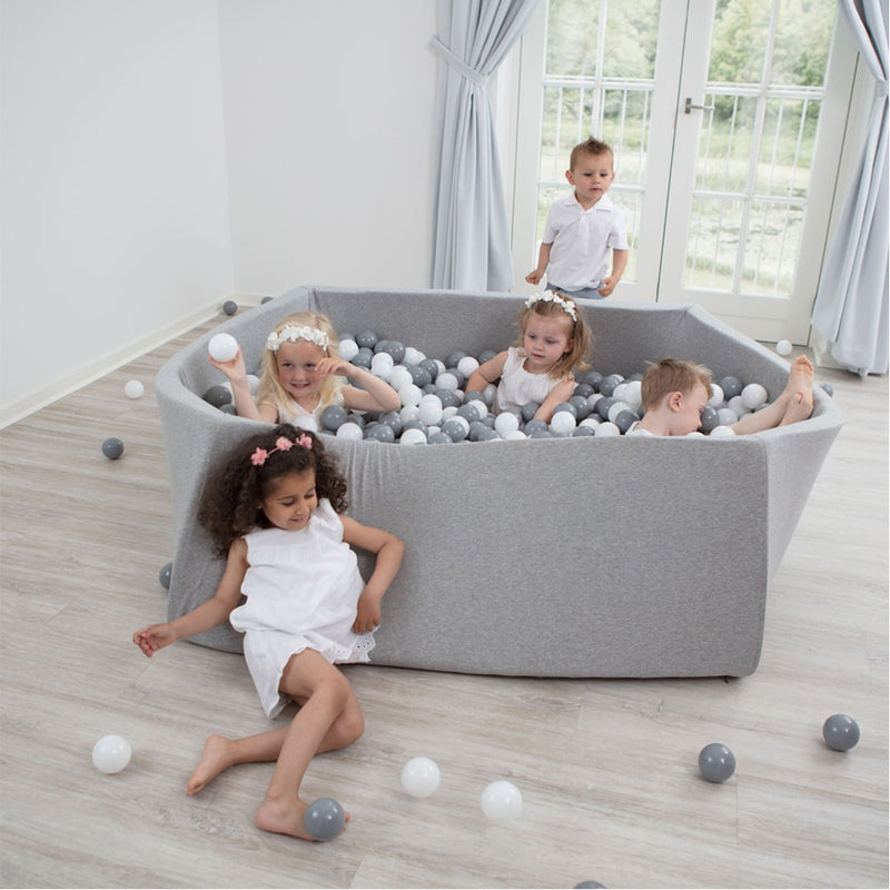 Soft Foam Rectangular Ball Pit Pool - Light Gray - Beary Kids