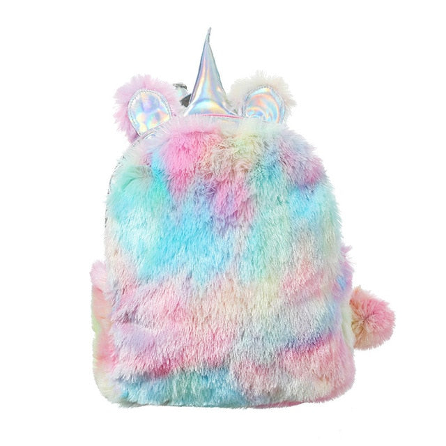 Unicorn Fuzzy Rainbow Backpack - Beary Kids