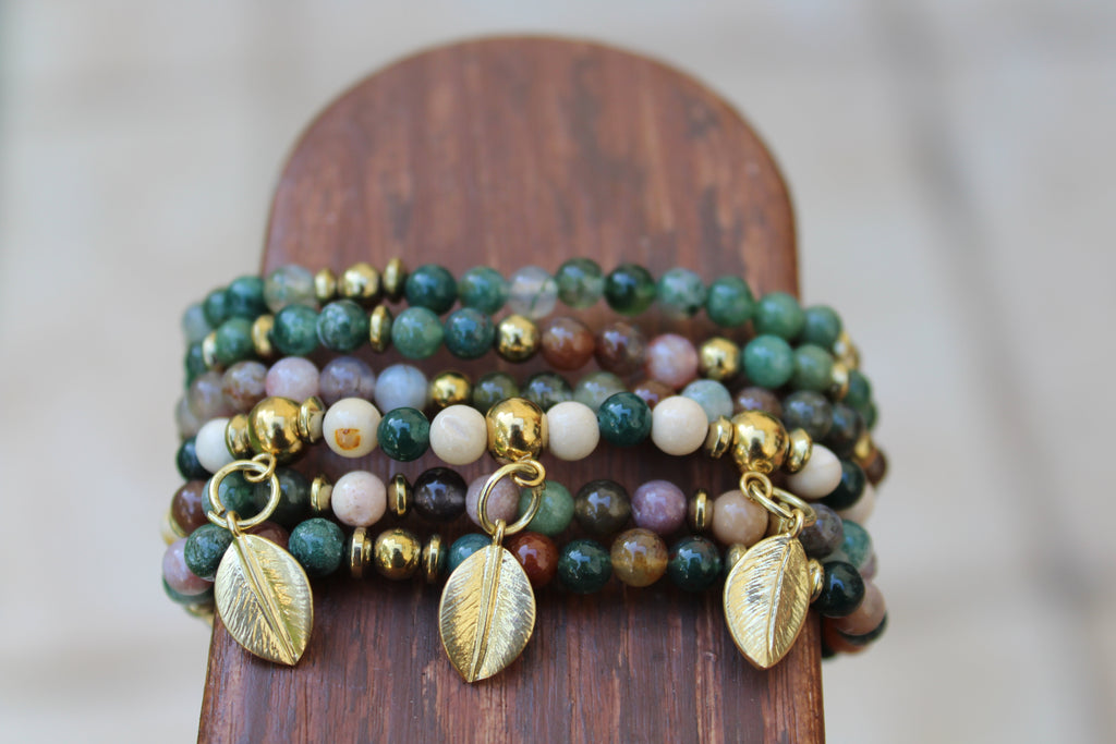 Gold Leaves 6 Bracelet Stack