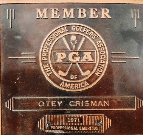 PGA membership plaque for Otey Crisman