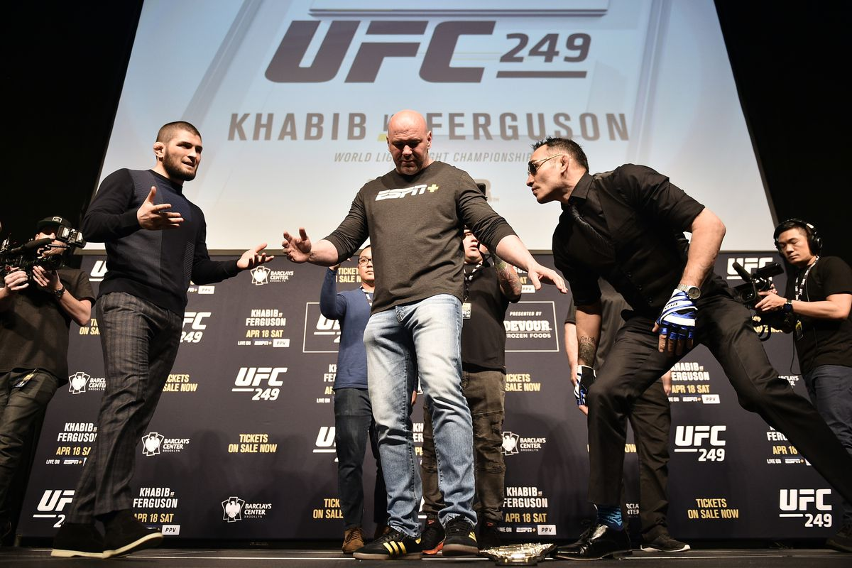 UFC 249 press Conference. Khabib Nurmagomedov kicked Tony Ferguson's belt