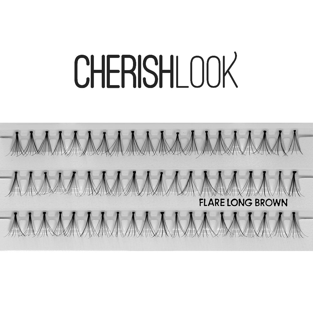 Cherishlook Eyelash #Flare Long BROWN (100 Pack) ($1.10 per pack)