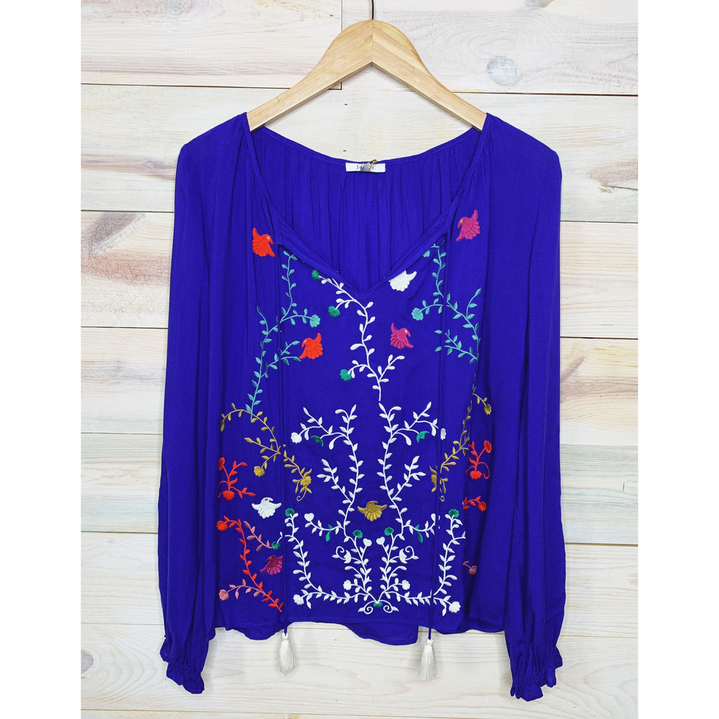 Royal Blue Embroidered Blouse