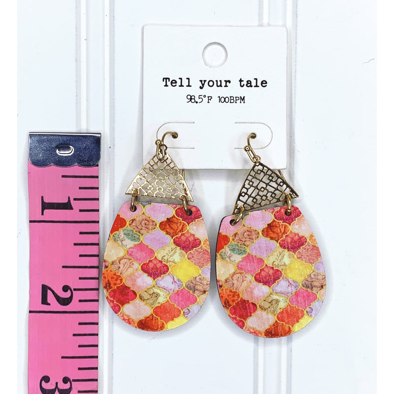 Mixed Pink Dangle Earrings