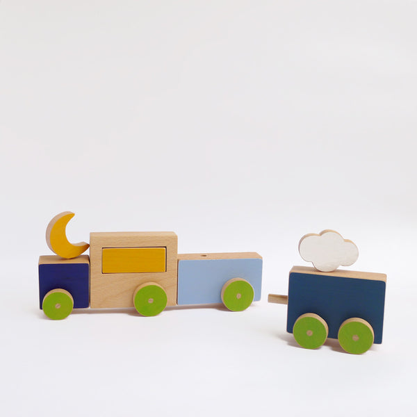 The blue train push toy