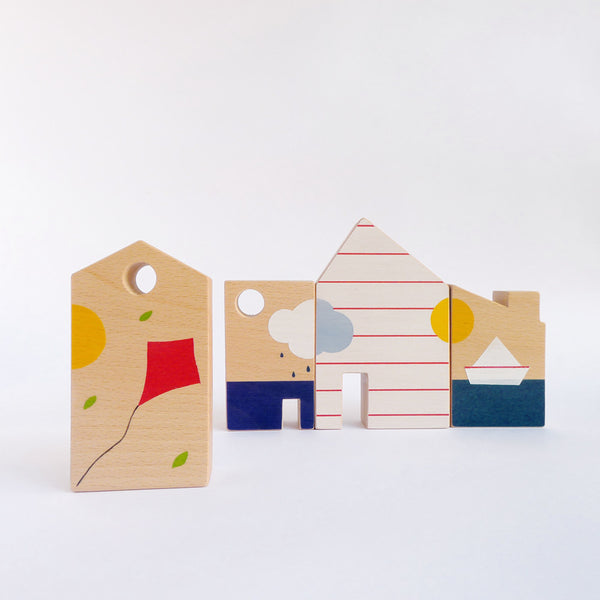 Wooden toy blocks, eco friendly kids room decor, wood toy houses