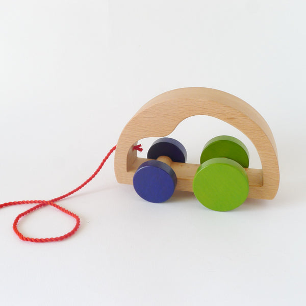 Wooden pull toy car 2