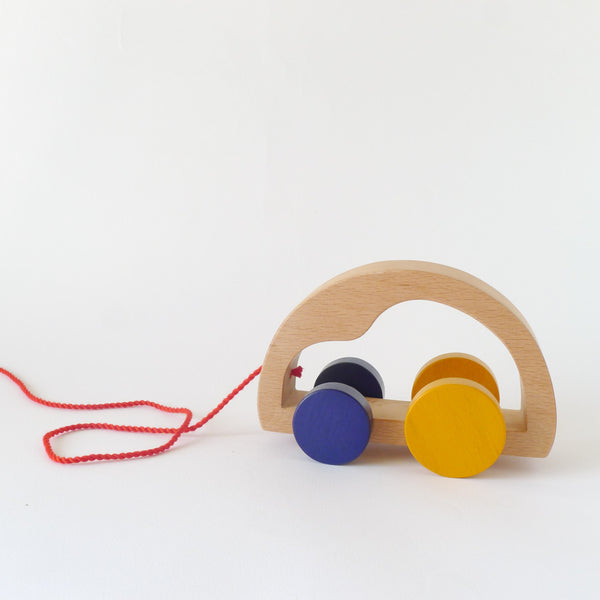 Wooden pull toy car