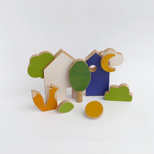 Wooden houses & fox set, My first construction toy