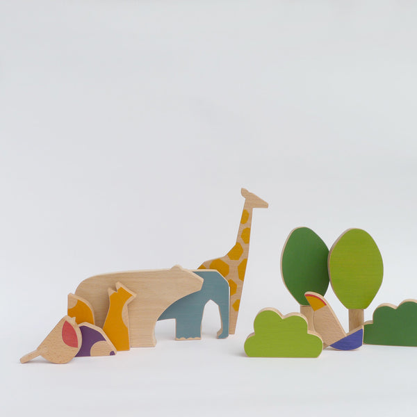 Wooden animals toy collection