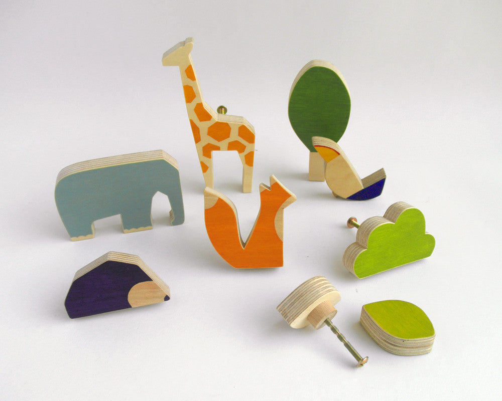 Wooden animal knobs