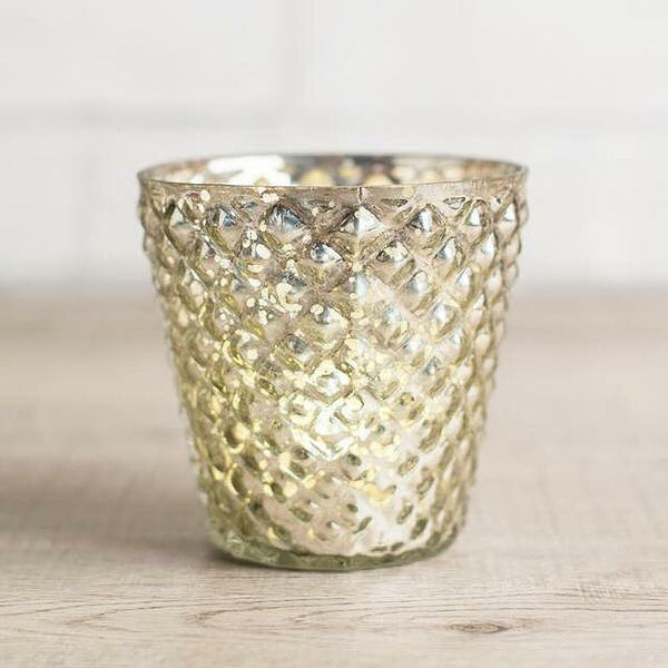 Silvered glass tea-light holder