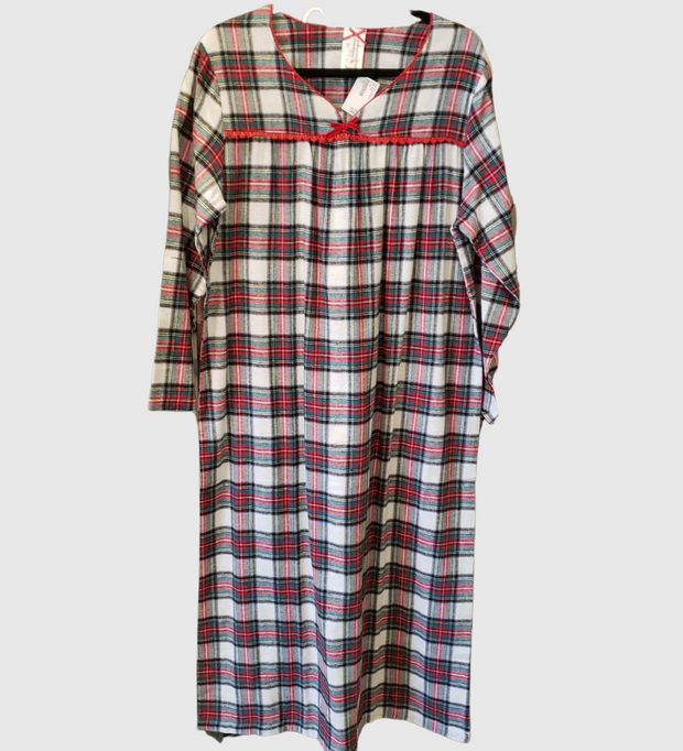 KayAnna Traditional Plaid Flannel Night Gown