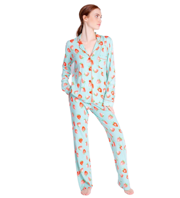 PJ Salvage Strawberry Playful Print PJ Set w/Mask