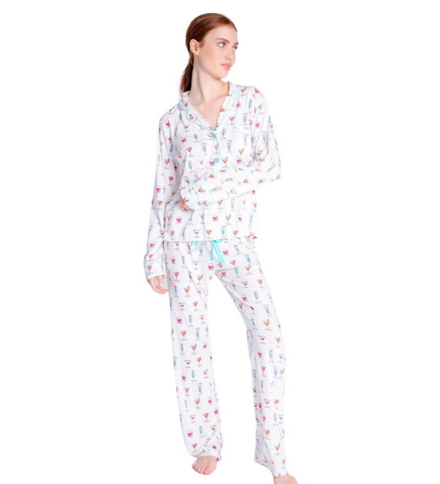 PJ Salvage Happy Hour Dreams Playful Prints PJ Set w/Mask