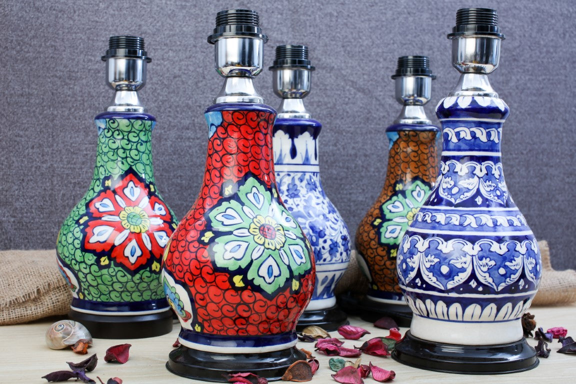 Blue Pottery Ceramic Lamps Arraish