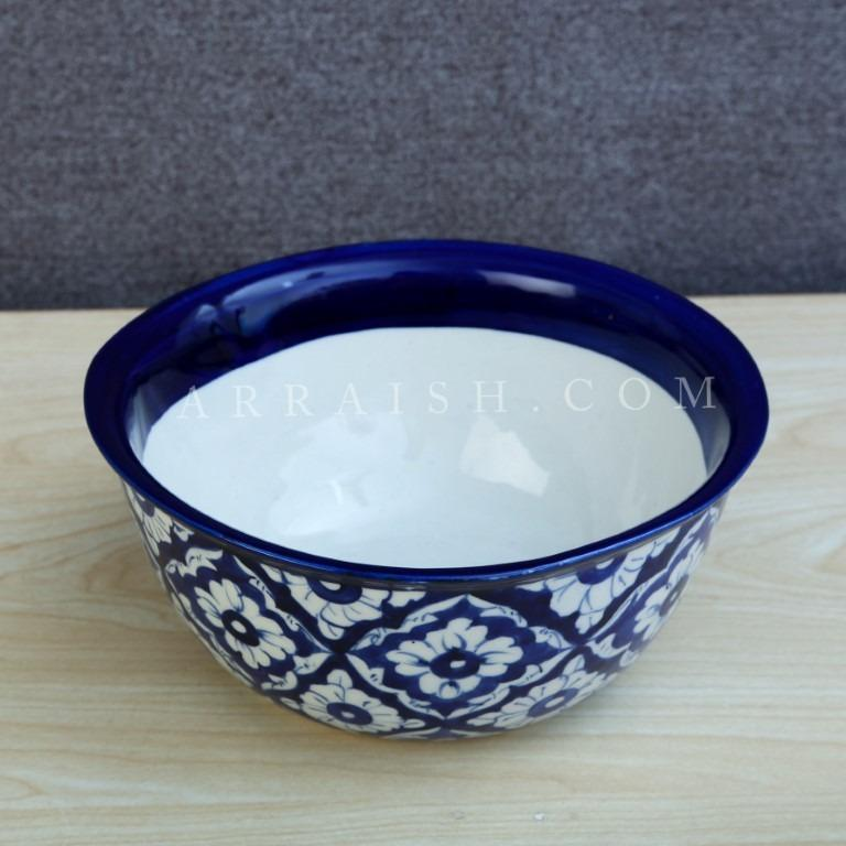 Ceramics Blue Diamond Bowl - Inner White