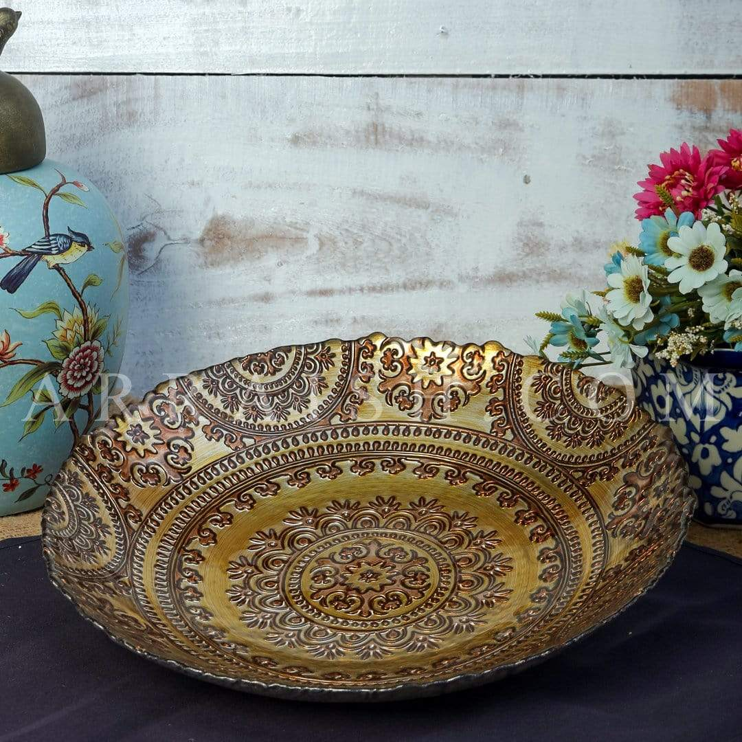 Ceramics Golden Turkish Serving Bowl