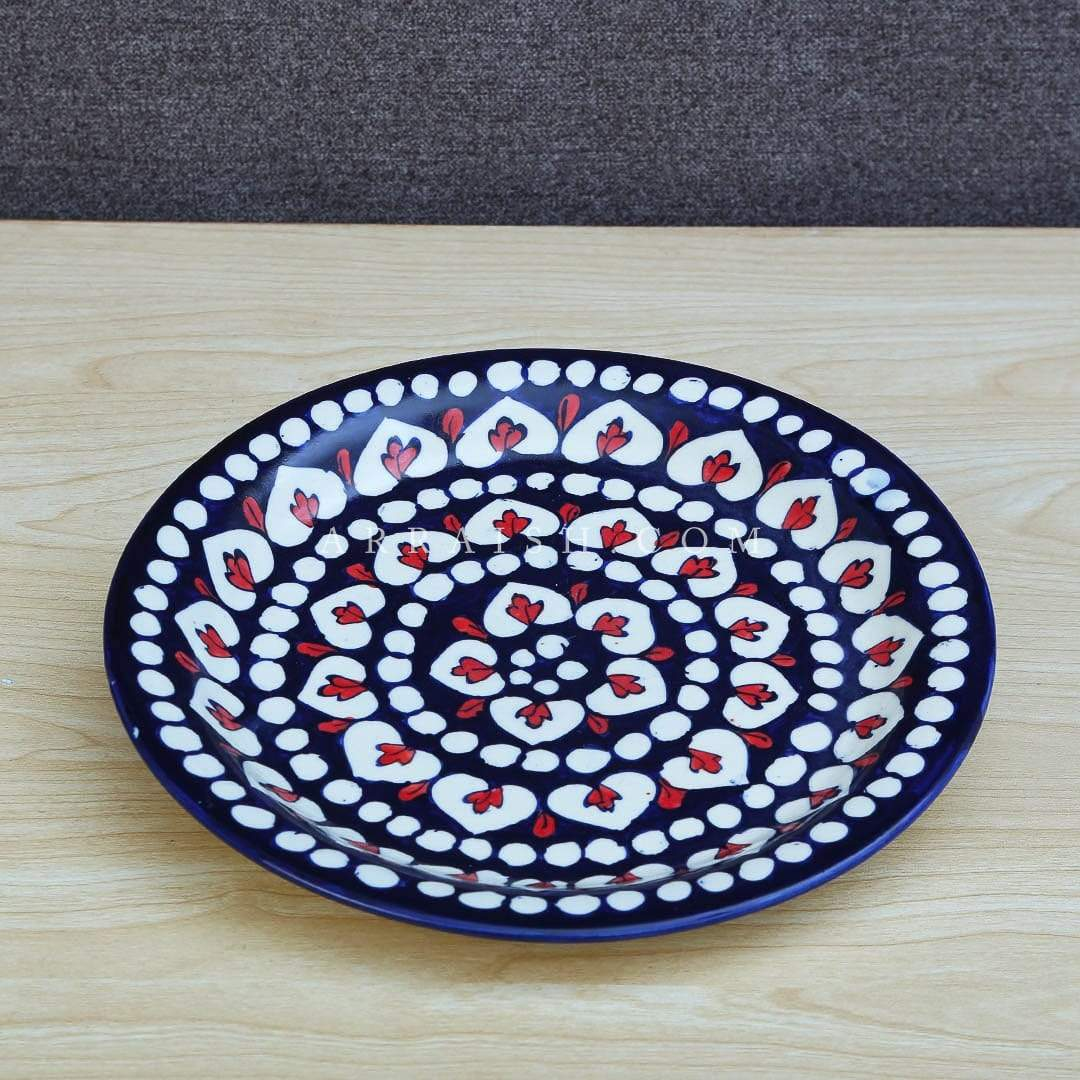 Ceramics Red Flower Dinner Plate