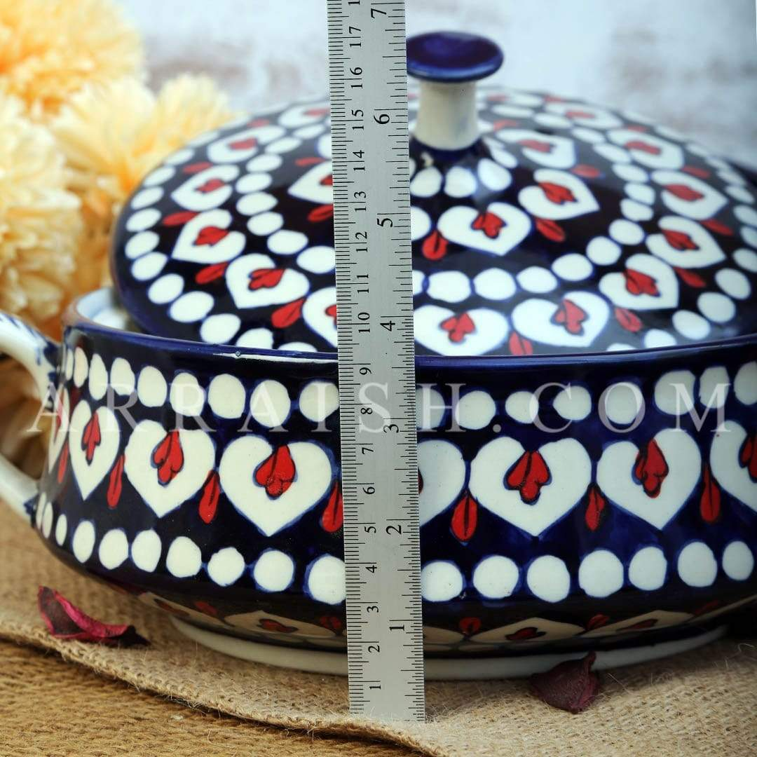 Ceramics Red Flower Large Cover Pot
