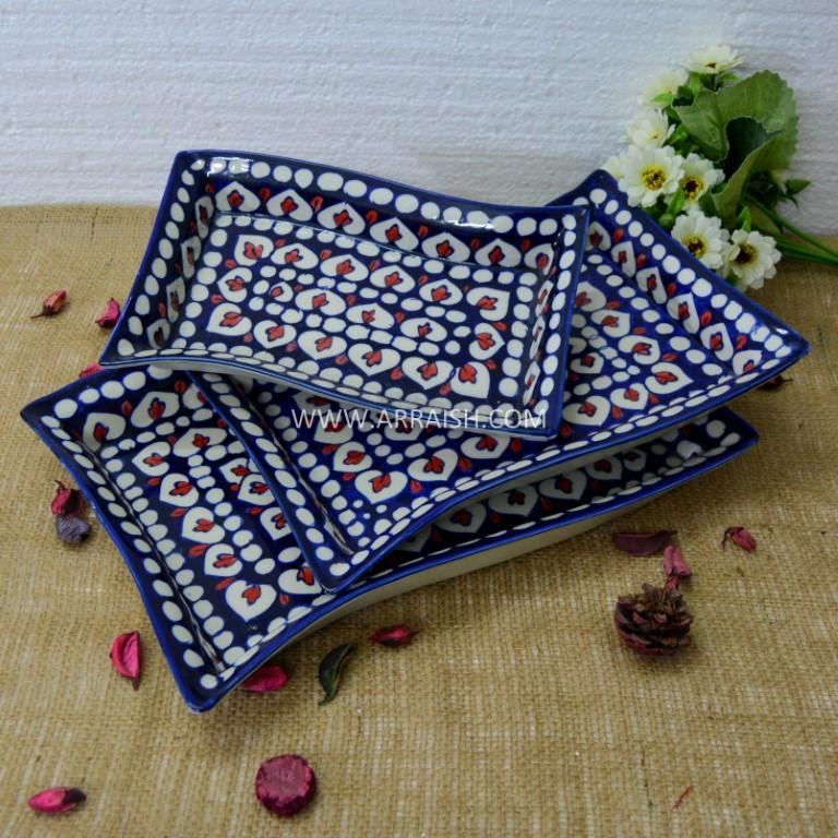 Ceramics Red Flower Rectangle Dish - Set of 3