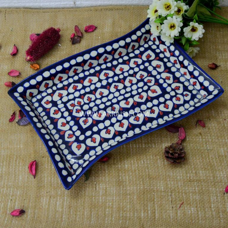 Red Flower Rectangle Serving Dish - Arraish