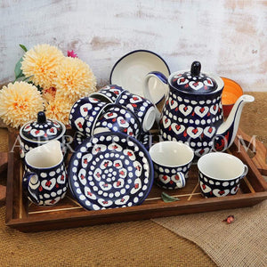 Ceramics Red Flower Tea Set