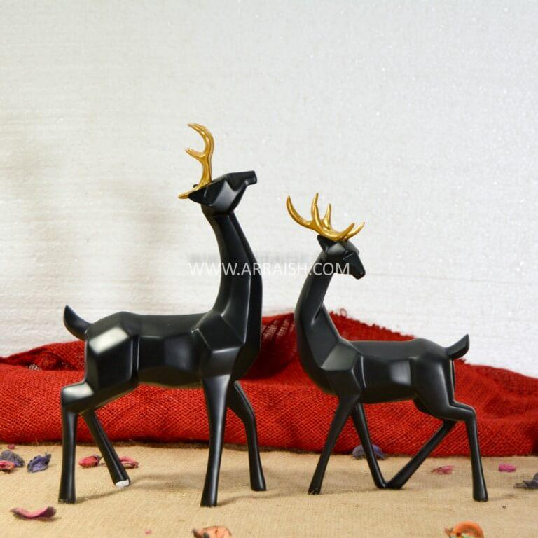 Decor Pair of Black Deers - Table Decoration