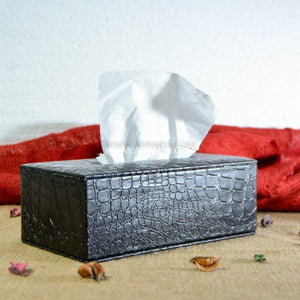 Decor Black Leatherette Tissue Box Cover