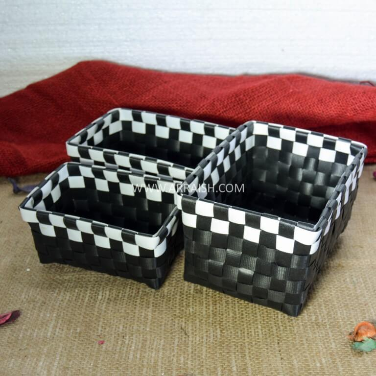 Decor Black Square Basket Set - Set of 3