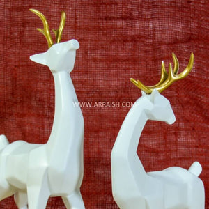 Decor White Deers Pairs - Table Decoration