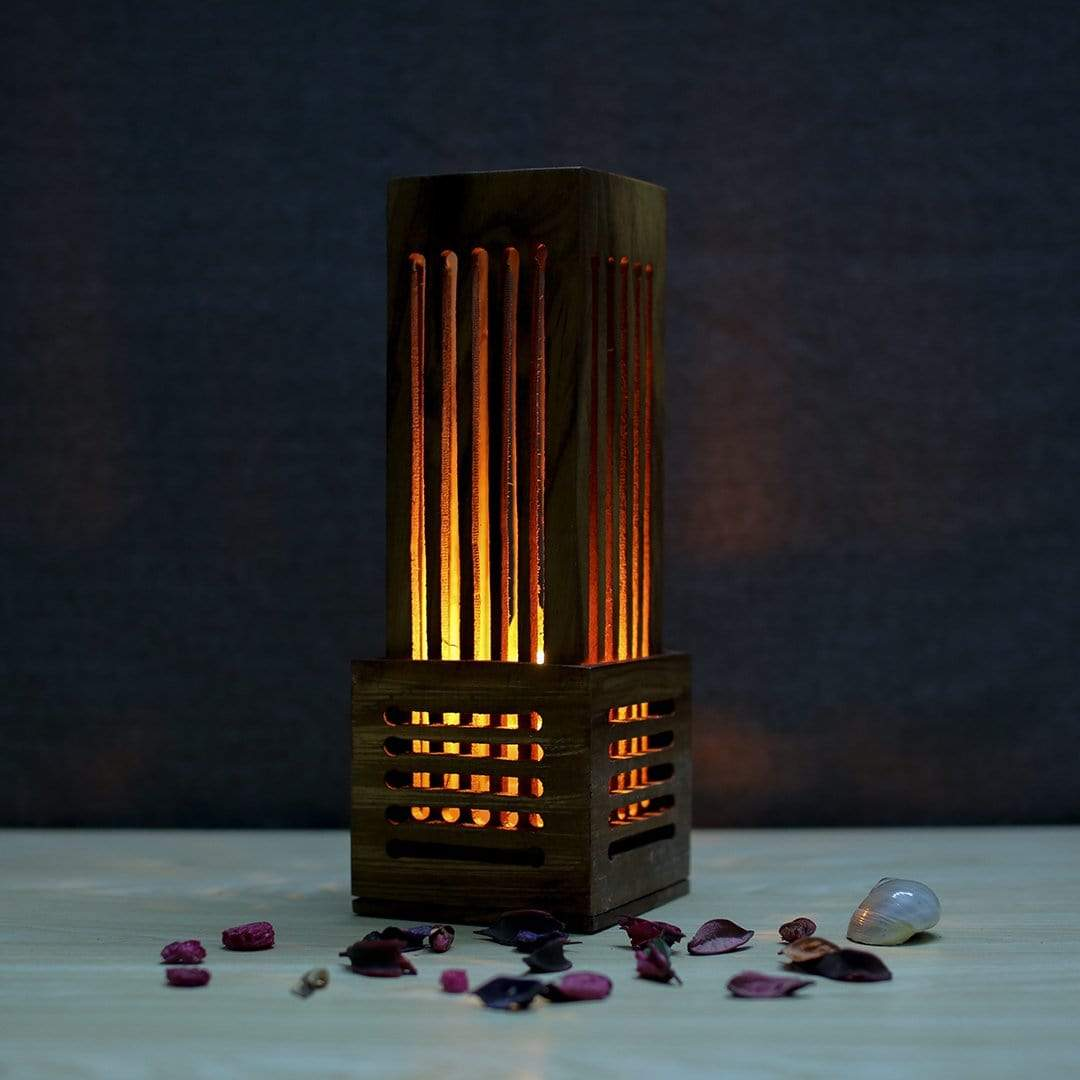 Wood Mini Tower Wooden Table Lamp