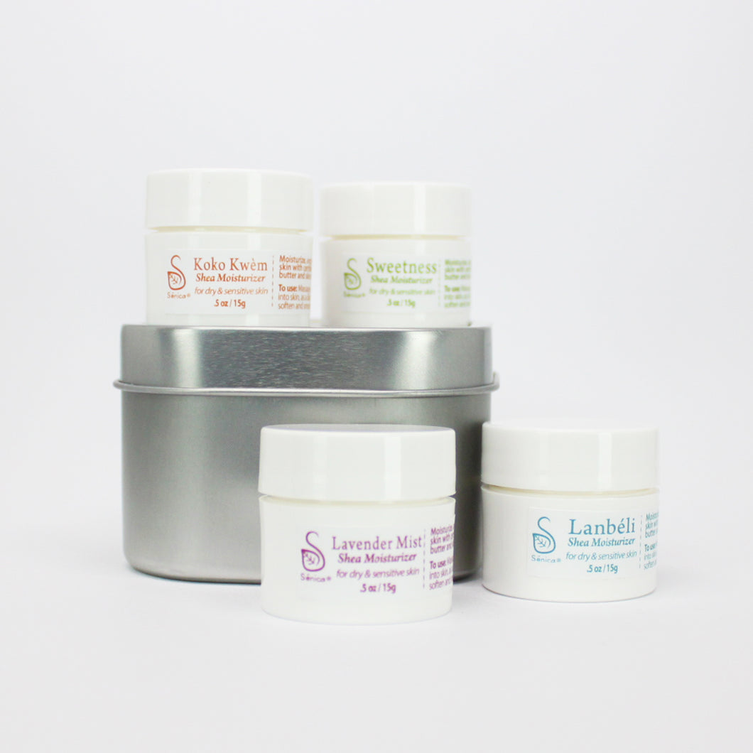 Shea Moisturizer Sampler Set - Sénica skin care moisturize dry, sensitive and eczema, prone skin.