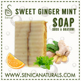 Sweet Ginger Mint Soap Bar - Sénica skin care moisturize dry, sensitive and eczema, prone skin.
