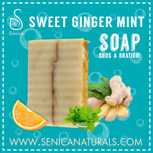Load image into Gallery viewer, Sweet Ginger Mint Soap Bar - Sénica skin care moisturize dry, sensitive and eczema, prone skin.