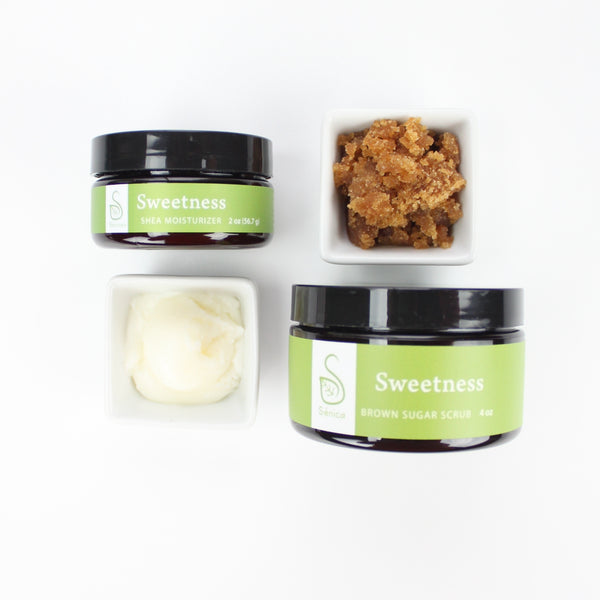 Shea Moisturizer & Sugar Scrub Sets - Sénica skin care moisturize dry, sensitive and eczema, prone skin.