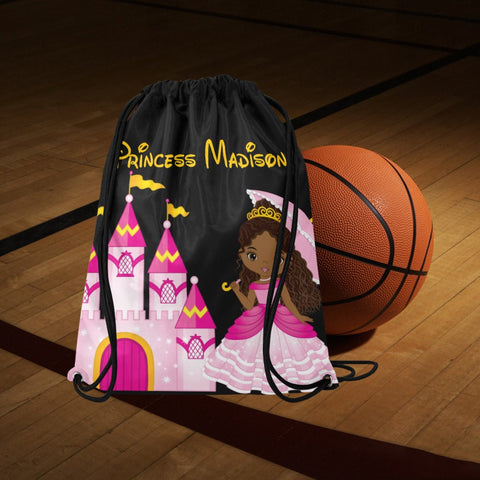 Black Girl Princess Drawstring  bag