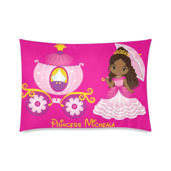 "Little PRINCESS Personalized Pillowcase African American Black Girl  Custom Zippered Pillow Cases 20""x30""(Twin Sides)Name Pillowcase"