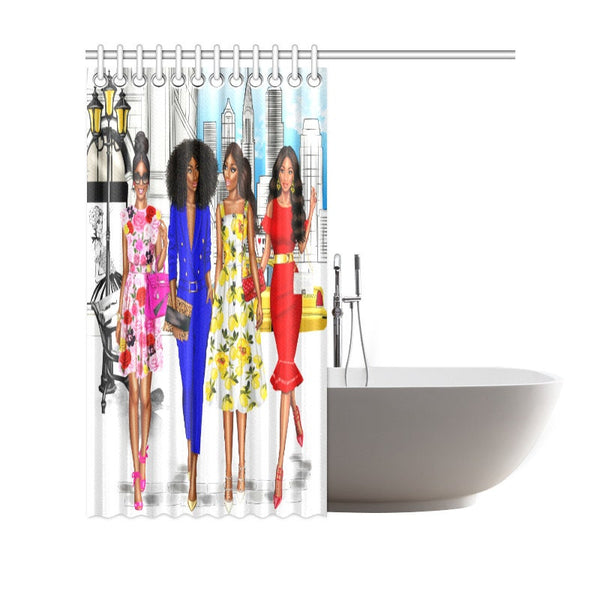 "African American Girl's Shower Curtain 69""(W) x 70""(H)"