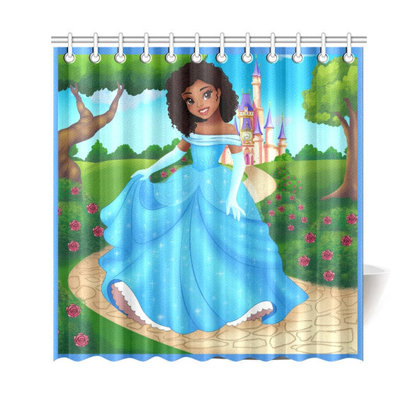 "African American Shower Curtain Art for Kids Bathroom Decor with Princess 69""(W) x 70"""
