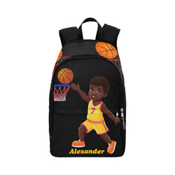 Black Boy African American Basketball Large Backpack