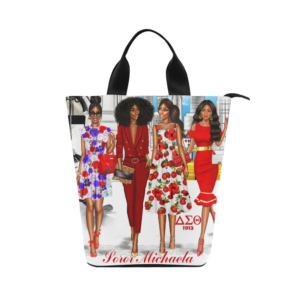 Personalized Red and White Sorority Large Lunch Tote Bag