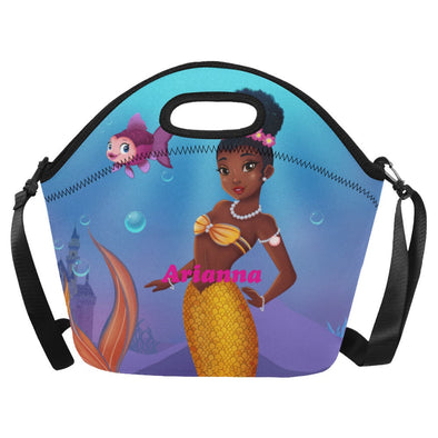 Personalized Mermaid Bag, Mermaid Lunch bag,Lunch box,Black Brown Mermaid, African American, Childs Lunch Box, Monogrammed Lunch box Sm,Lg
