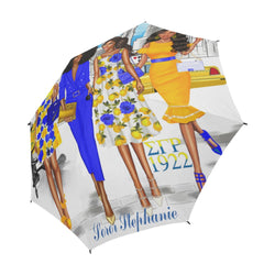 Blue and Yellow Large Monogrammed Umbrella