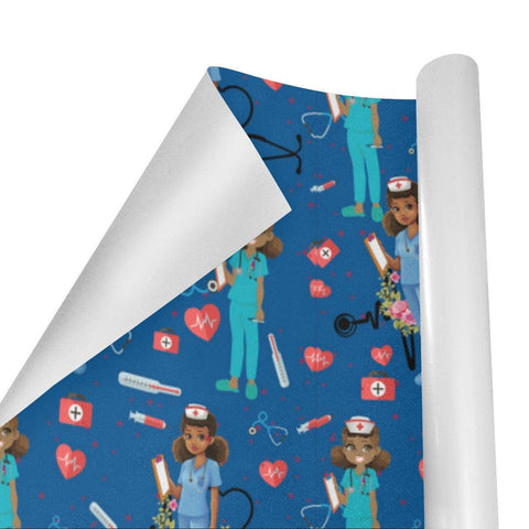 African American Nurse Gift Wrapping Paper