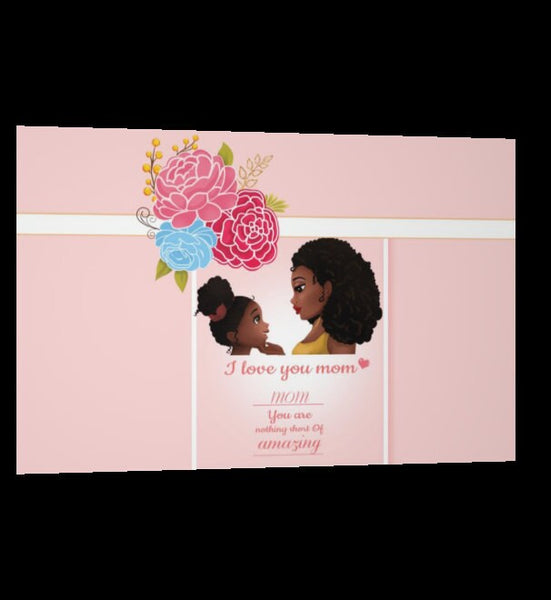 "I Love You Mom Greeting Card,Double-Sided Image Post Card- Size:6"" x 9"",Mothers day,birthday,mother daughter,new mom ,mothers gift,gift wrap"
